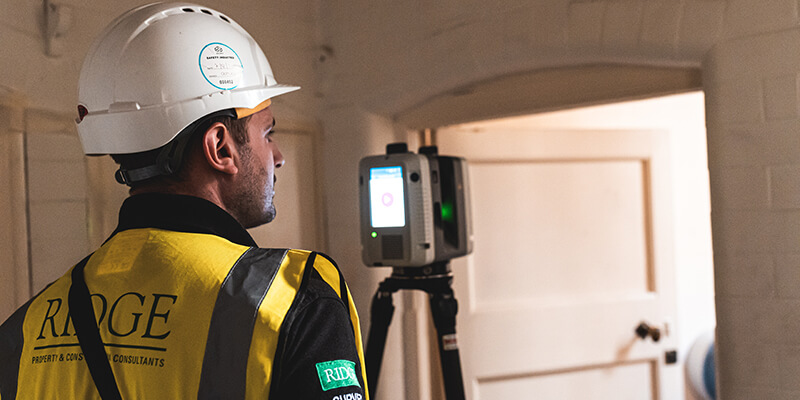 Ridge team scanning Oxford Town Hall, a grade II* listed building with a Leica RTC360 Laser Scanner